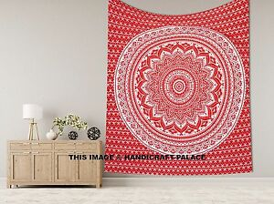 Mandala Red Tapestry Wall Hanging Cotton Throw Indien King Bedspread Bohemian