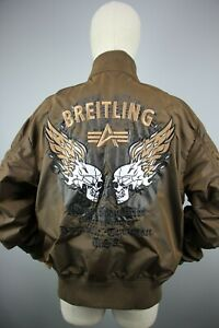 Mens Alpha Industry Breitling Air Race Khaki jacket Bomber Size L
