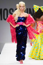 MOSCHINO COUTURE JEREMY SCOTT Purple Sequin Paillette Bustier Dress Gown 40 2  4