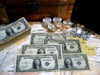 * LOT OF 5 * $1 ONE DOLLAR SILVER CERTIFICATES * MIXED SERIES AND CONDITION *