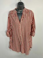 WOMENS ZARA SIZE MEDIUM RED&WHITE STRIPE 3/4 ROLL SLEEVE V NECK BLOUSE SHIRT TOP