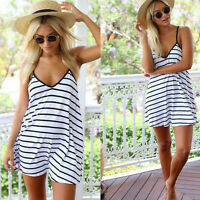 New Fashion Women V-neck Summer Cool Black And White Stripes Loose Halter Dress