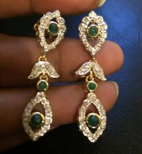 CERTIFIED Authentic real Diamond y Gold Cabochon Emerald Earrings 18k 750