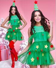 Cute Adult Women GREEN CHRISTMAS TREE DRESS XMAS Santa Claus COSTUME FANCY DRESS