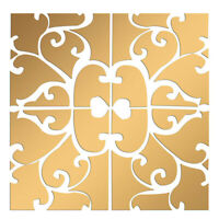 32-set 3D Mirror Wall Stickers Wall Panels Decals for Bedroom Living Gold