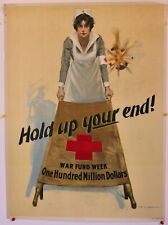 """New listing Original Ww1 Red Cross War Fund Poster """"Hold Up Your End"""" by Wb King 1917 20x27"""
