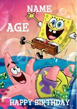 PERSONALISED Chidlrens Birthday Card - SPONGEBOB Squarepants - Add Name and Age