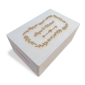Wooden Engraved Personalised Anniversary / Valentine's Day Box, Unpainted