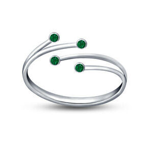 14k White Gold Over Green Sapphire leaf Bypass Toe Adjustable Ring Women's