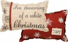 "DREAMING OF A WHITE CHRISTMAS Throw Pillow, 15"" x 10"", Primitives by Kathy"