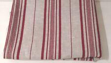Tessuto lino naturale melange righe rosse matelasse tessuto d'arredo cm 50 x150