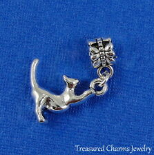 Silver STRETCHING CAT Dangle Bead CHARM 3D Kitty Cat fits EUROPEAN Bracelet