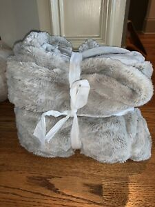 """New Pottery Barn Faux Fur Ruched Throw Blanket 50"""" x 60""""~Gray~"""