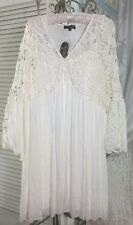 NEW ~ Plus Size 1X XL Ivory Off White Lace Crochet Empire Boho Peasant Dress