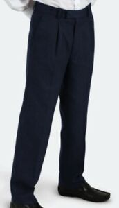 School Uniform Boys Trousers Half Elasticated Navy Blue (Banner - Putney Style)