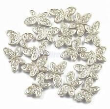 20pcs Alloy Butterfly Rhinestones 2 Hole Charm Spacer Beads Jewelry Findings