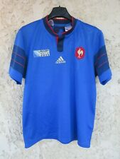 Maillot rugby équipe de FRANCE World Cup 2015 ADIDAS home shirt bleu 14 15 ans