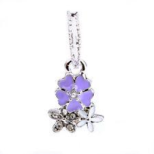 1pcs Paint Purple CZ Multilayer flower Pendant Charm Bead Fit European Bracelet