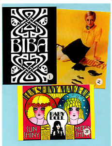 "3 60's REPRO LARGE (7x5"") POSTCARDS. Twiggy, Biba, Mod, Pop art, 60's, Avengers."