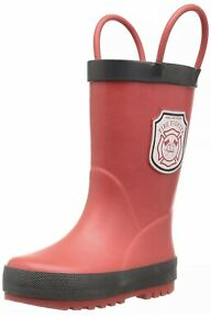 Carter's Fire R Volunteer Fire Fighter Pull-On Toddler Rain Boots Size 5 NEW Red