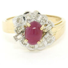 14K Two Tone Gold 1.62ctw Cabochon Ruby Ring w/ Baguette & Round Diamond Accents