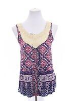 Tiny Anthropologie Womens Crochet Lace Bib Soutache Tank Top Batik Print Sz XS