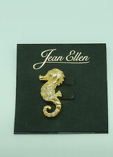 sparkly stones Pin/Broach-Seahorse-gold toned -clear