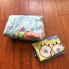 Vintage SpongeBob SquarePants Twin Size Flat Sheet & 1 Pillow Cover Nickelodeon