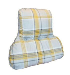 Mustard & Grey Check & Fleece Reversible BACK & LUMBAR POSTURE CUSHION *UK Made*