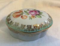 VINTAGE Floral Ceramic Porcelain Oval Decorative Trinket Box