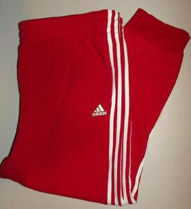 ADIDAS 3 STRIPE RED Track Pants Warm Up Pants POCKETS  Men's 3XL P996
