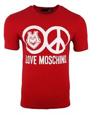 BNWT LOVE MOSCHINO PEACE LOGO PRINT T-SHIRT RED & WHITE