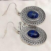 Vintage Art Deco Style Lapis Lazuli Gemstone Large Drop Dangle Pierced Earrings