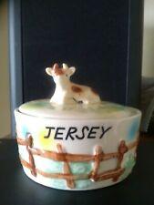 Vintage Jersey Round Cow Ceramic Butter Dish 9 cm