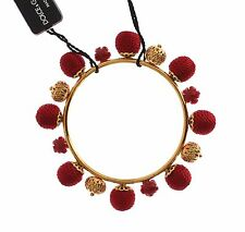 NEW $720 DOLCE & GABBANA Bracelet Gold Brass Red Floral Roses Bangle One Size