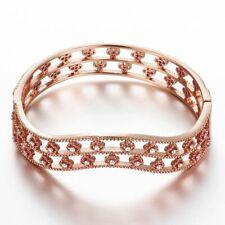 Womens Rose Gold Filled Elegant CZ Flower Hollow Bangle Vogue Bracelet #DB13
