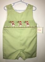 NEW Light green gingham Smocked Christmas Snowman Shortall Jon Jon Boys 12 month