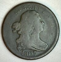1807 1/2C Draped Bust Half Cent Copper Coin Fine Large 7 Variety C-1 #M