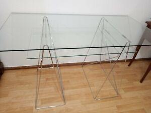 Schreibtisch Glastisch / Sicherheitsglas / Edelstahl / 2 Glasplatten