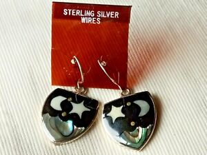 MEXICAN SILVER ALPACA 20mm.DROP EARRINGSwithABALONE MOON & STAR DESIGN £8.99 NWT