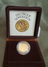 *QWC* - UK Royal Mint 1981 PROOF GOLD Sovereign - With box and COA