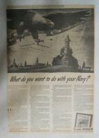World War Two Ad: Your Navy ! Time Magazine Ad 1943 Size: 10  x 14  inches