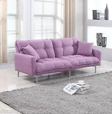 Modern Plush Tufted Linen Fabric Splitback Living Room Sleeper Futon Purple