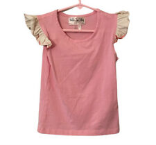 Matilda jane 6 Girls Pink Short Sleeve Shirt Cream Ruffle Sleeves Scoop Neck