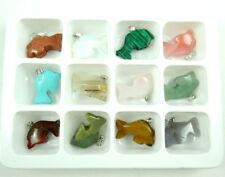 Wholesale 12PC Beautiful Carved Mixed agate Gemstone dolphin Pendant Loose Beads