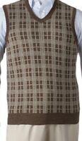 "DOCKER'S Men's Knit V-Neck Plaid Sweater Vest ""OTTER"" Size 3XL New With Tags"