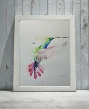 Large ORIGINAL new signed watercolour ART PAINTING of a Hummingbird nature bird
