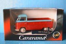 VW T1 BULLI PICK UP CARARAMA 1/43 RED LIGHT BLUE BULL