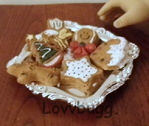 """Christmas Cookies on Tray NOT ERASERS for 18"""" American Girl Doll Food LOVV! 🐞"""