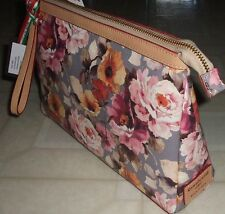 CAVALCANTI Italy Geniune Leather Floral Large Wristlet Clutch Cosmetic Bag NWT